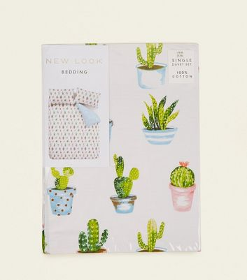 Green Cactus Print Single Cotton Duvet Set