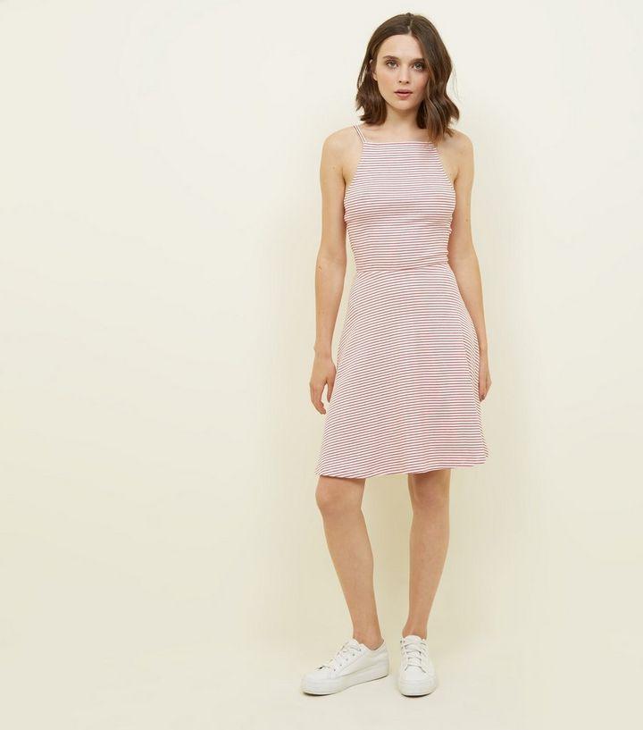 Red and White Stripe Square Neck Skater Dress  c842780142