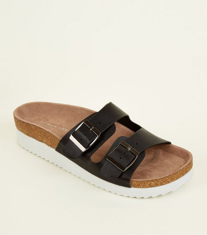 3b26a205bb12 Wide Fit Black Double Buckle Strap Footbed Sandals