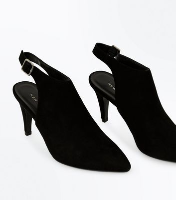 Black Suedette Slingback Pointed Shoe Boots New Look