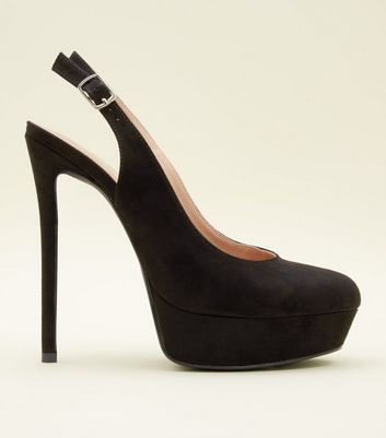 Black Suedette Stiletto Heel Platform Slingbacks