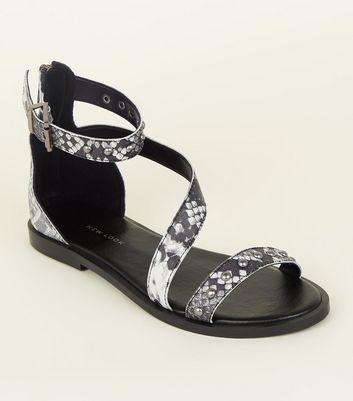 Black Leather Snake Print Sandals