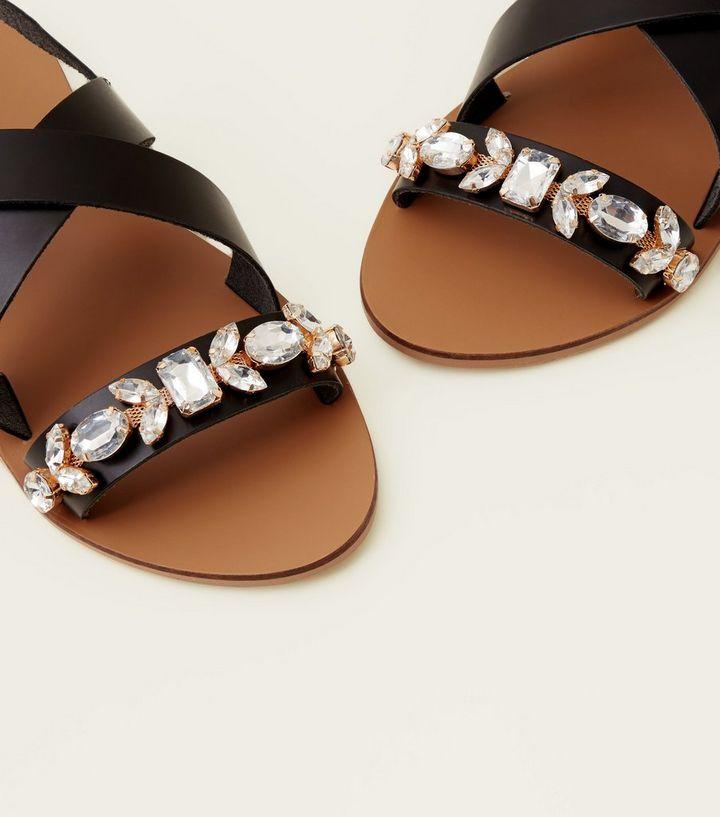 aa1963691ff ... Wide Fit Black Leather Gem Embellished Slingbacks. ×. ×. ×. Shop the  look