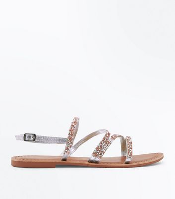 Wide Fit Silver Leather Gem Embellished Sandals