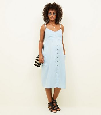 Maternity Pale Blue Button Front Midi Sundress New Look