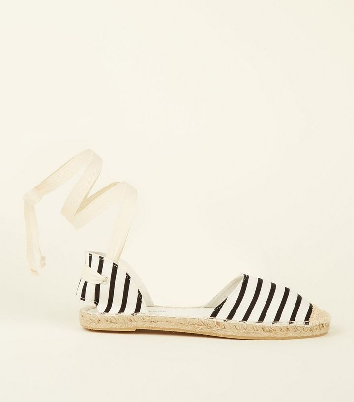 c68c4d2fc5c Black Canvas Stripe Ankle Tie Espadrilles Add to Saved Items Remove from  Saved Items
