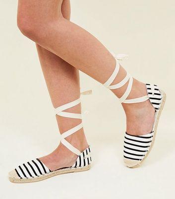 Black Canvas Stripe Ankle Tie Espadrilles New Look