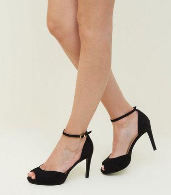 Wide Fit Black Suedette Peep Toe Ankle