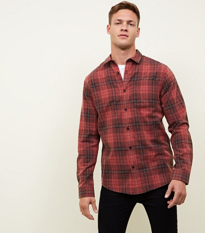 online good looking timeless design Red Washed Check Long Sleeve Shirt Add to Saved Items Remove from Saved  Items