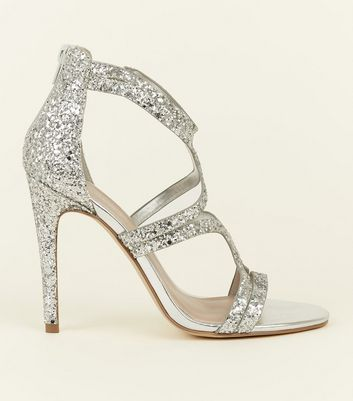 Wide Fit Silver Glitter Strappy Stiletto Sandals