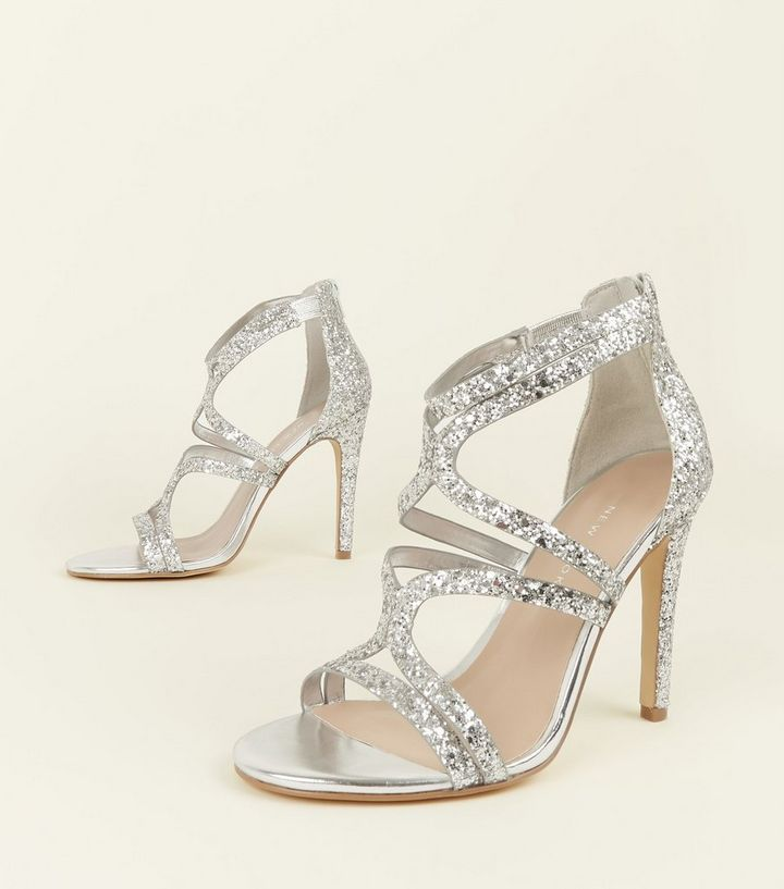 4a241139ffd ... Wide Fit Silver Glitter Strappy Stiletto Sandals. ×. ×. ×. Shop the look