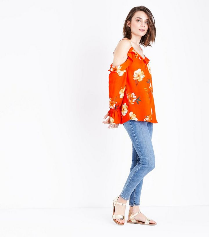 624b1e67c7b344 ... Orange Floral Frill Trim Cold Shoulder Top. ×. ×. ×. 1