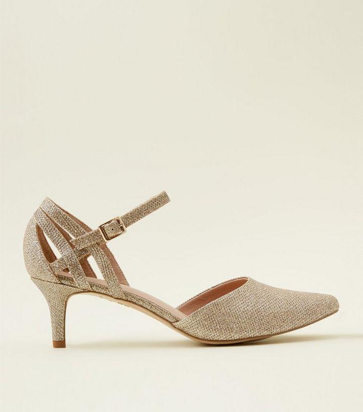 8bcbbe22f39a Wide Fit Gold Comfort Flex Glitter Pointed Kitten Heels