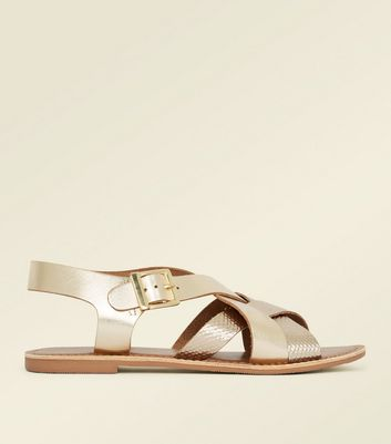 Gold Leather Faux Snakeskin Strap Flat Sandals New Look