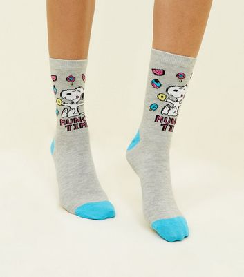 Light Grey Munch Time Slogan Snoopy Socks New Look