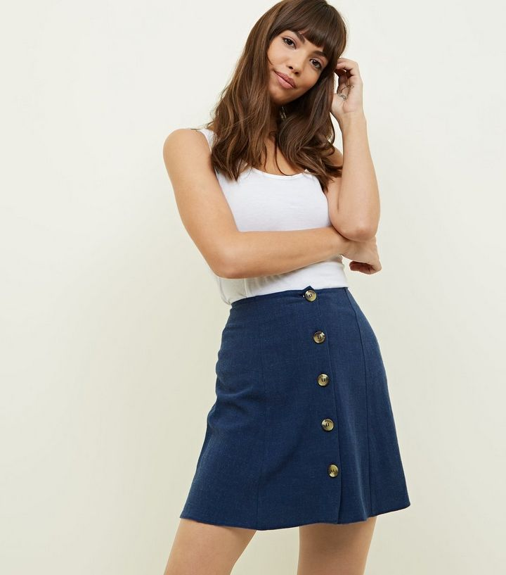 bd424388096a Navy Button Front Mini Skirt | New Look