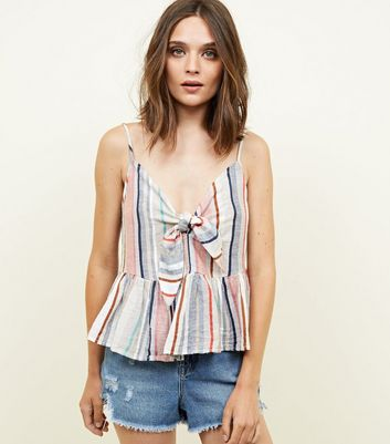 Multicoloured Stripe Tie Front Peplum Cami