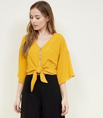 Cameo Rose Mustard Zip Tie Front Blouse New Look