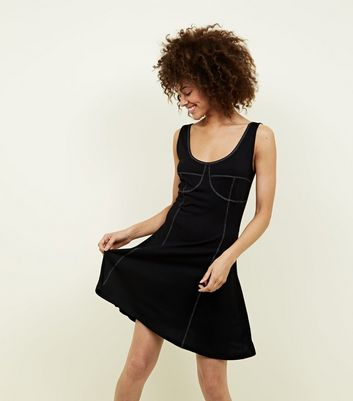 Black Contrast Stitch Swing Dress