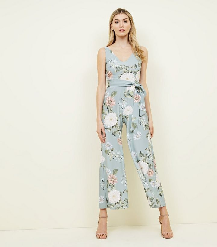 0680ce2e3213 Pale Blue Floral Wide Leg Jumpsuit