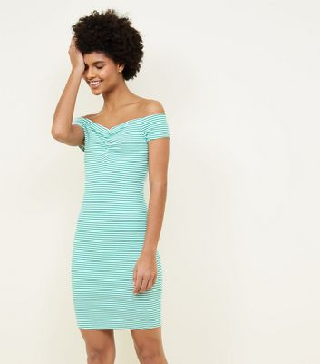 Green Stripe Ruched Bardot Bodycon Dress