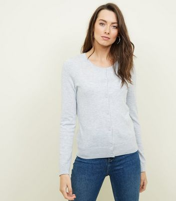 Pale Grey Crew Neck Cardigan