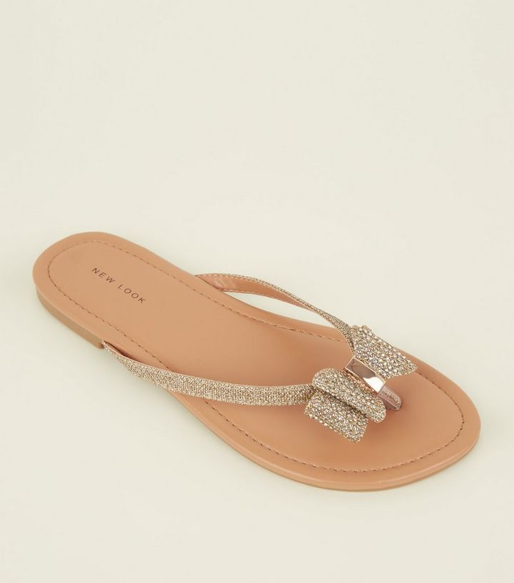 2fadc5395 Gold Diamanté Embellished Bow Flip Flops