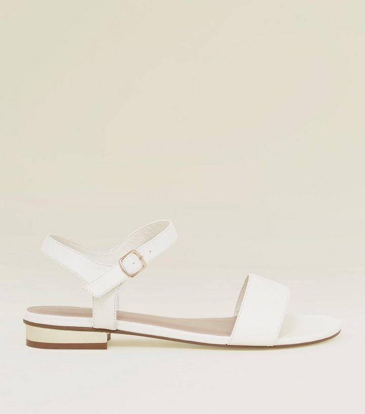 d71fe6ea1456 Wide Fit White Leather-Look Metal Heel Sandals