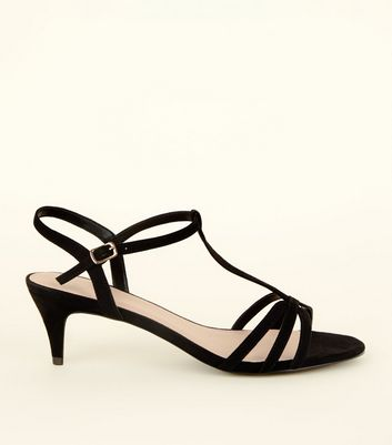 Wide Fit Black Comfort Flex Suedette Strappy Kitten Heels