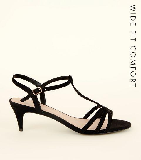 bd3ece0ae026 ... Wide Fit Black Comfort Flex Suedette Strappy Kitten Heels ...
