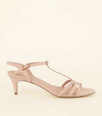 Wide Fit Nude Comfort Flex Suedette Strappy Kitten Heels