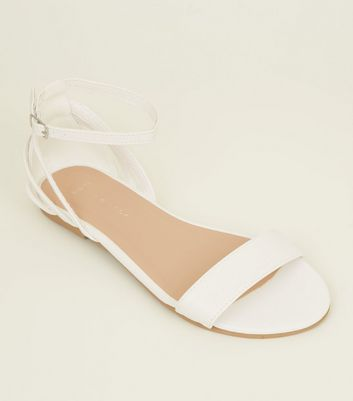 Wide Fit White Caged Back Sandals