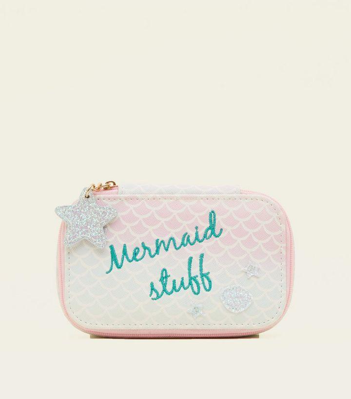 Pink Mermaid Slogan Jewellery Case New Look
