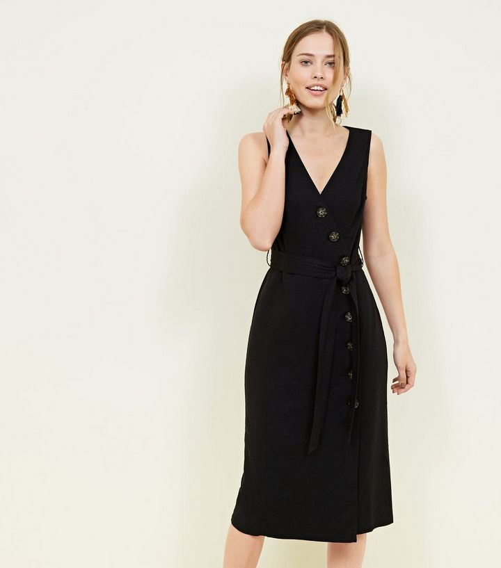 Black Linen Blend Button Up Midi Wrap Dress