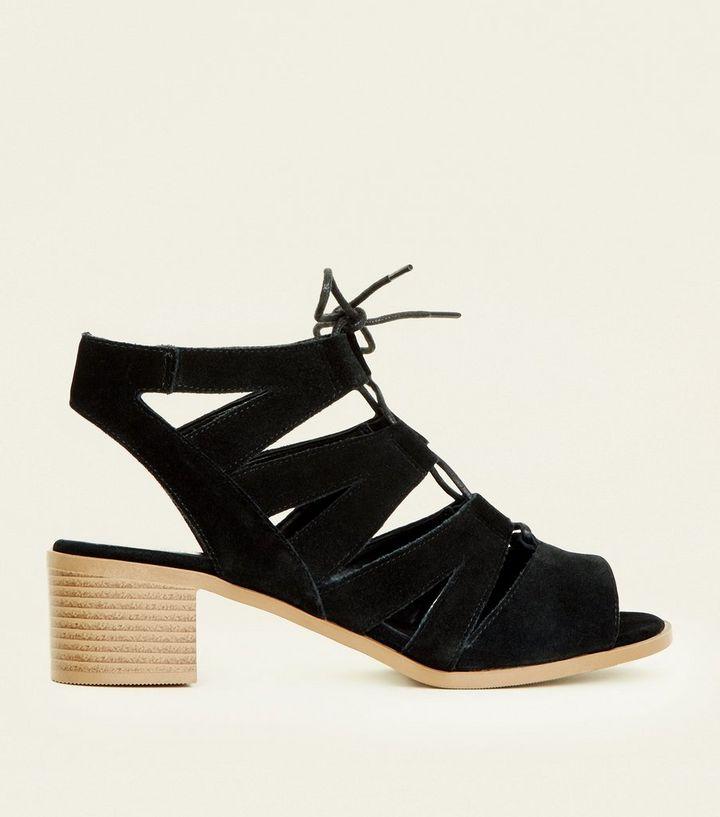 bf251cb2e7e Black Suede Low Block Heel Ghillie Sandals
