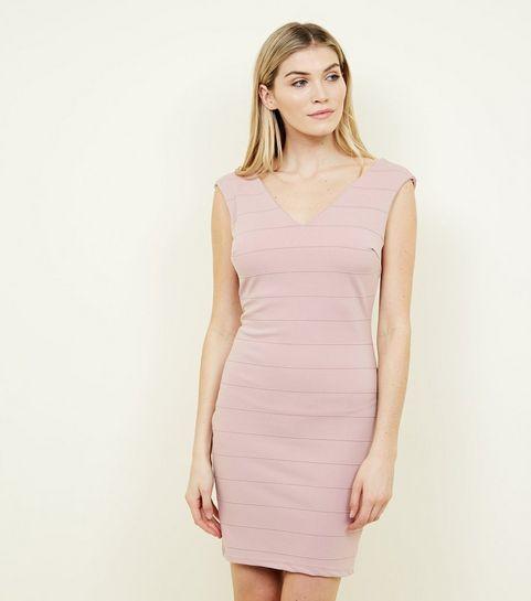 ... Mela Pink V-Neck Bandage Bodycon Dress ... c1757df0b