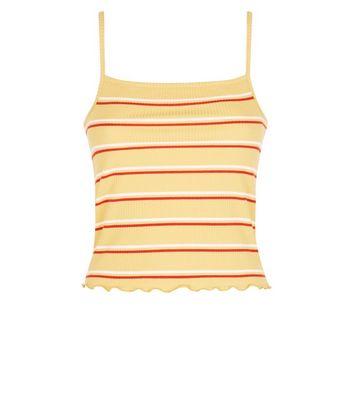 Yellow Stripe Ribbed Frill Hem Cami New Look