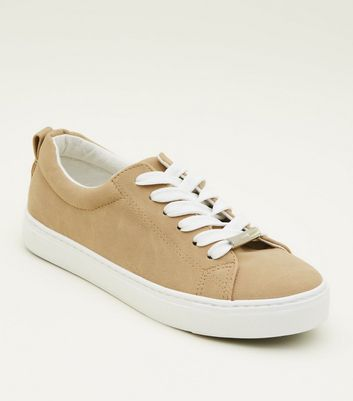 Girls Mink Lace Up Chunky Sole Trainers
