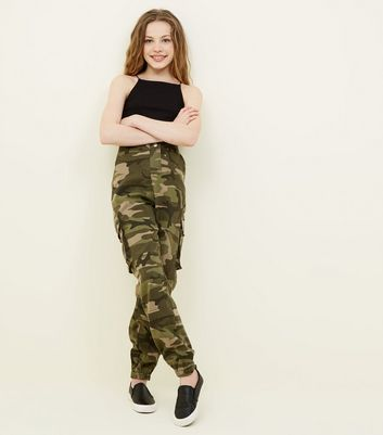 Girls Green Camo Cargo Trousers