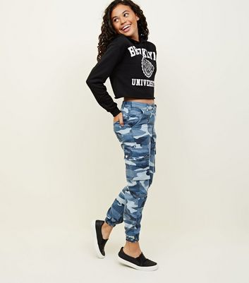 Girls Blue Camo Cargo Trousers