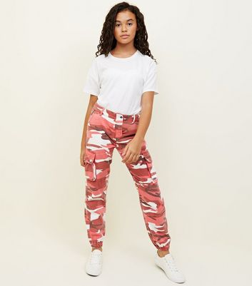 Girls Red Camo Cargo Trousers