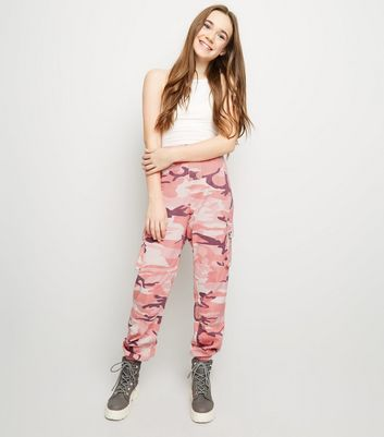 Girls Mid Pink Camo Cargo Trousers
