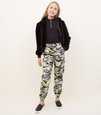 Girls Yellow Camo Cargo Trousers