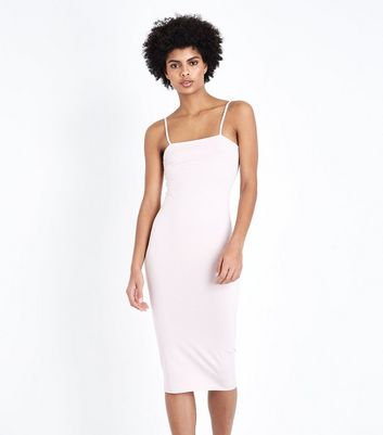 Pale Pink Square Neck Strappy Midi Dress New Look