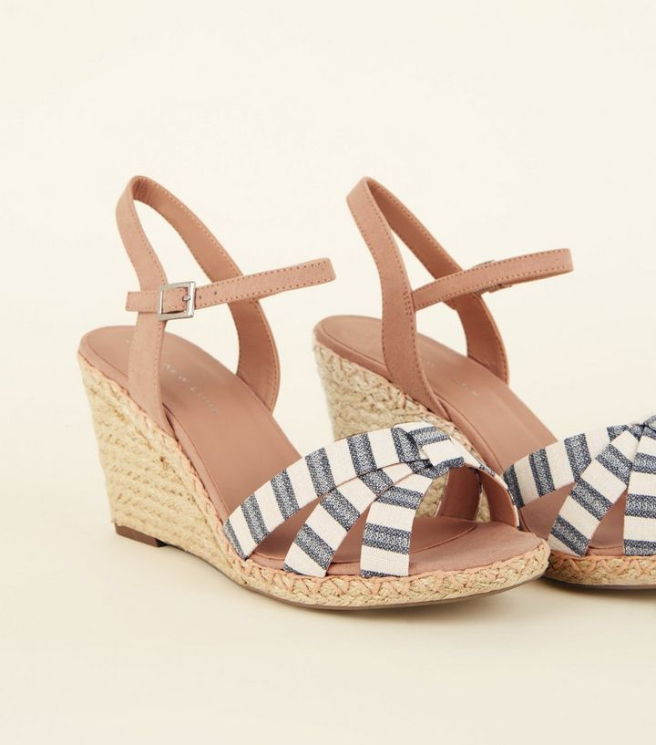 7440c02950a Wide Fit Nude Linen Stripe Strap Espadrille Wedges Add to Saved Items  Remove from Saved Items