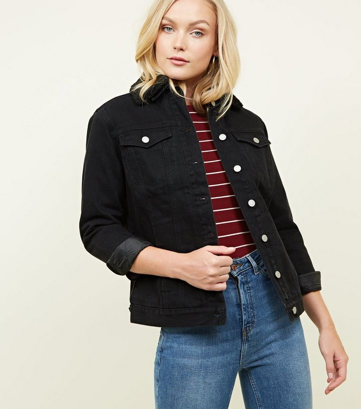 834fae168 Black Borg Lined Oversized Denim Jacket Add to Saved Items Remove from  Saved Items