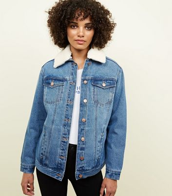 Blue Borg Lined Oversized Denim Jacket