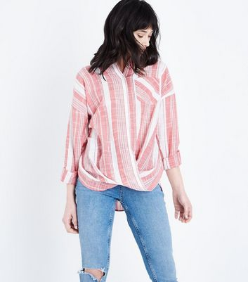 Pink Stripe Twist Front Shirt