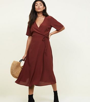 Rust Wrap Front Midi Dress