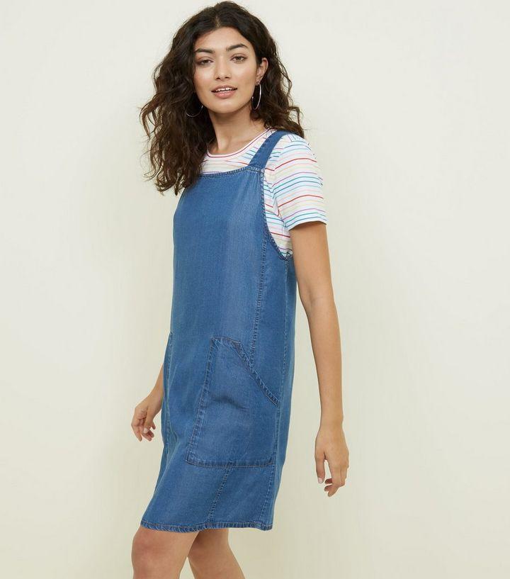 933b122e58be4 Bright Blue Lightweight Denim Pinafore Dress | New Look